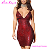 2017 fashion sequin short party sexy hot red dresses for women