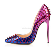 Catwalk Manufacturer Ladies Pointed Toe Dress Shoes Famous Brand Name Woman Stiletto Ombre Color Leather Sexy Spikes Women Heels
