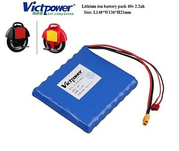 Lithium ion 60v 2.2ah battery pack for electric scooter