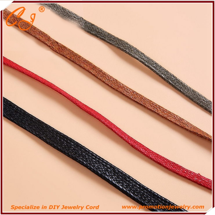 Diy Braclet Cord , Waxed Cotton Cord 2,3,5mm Flat for Shoes Accessory - Clothing Parts