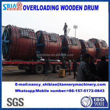 Chinese manufactuer raw cow/sheep skin D3.5X3.5 leather overloading wooden drum for soaking/liming/tanning/tannery machine