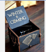 new hot-sale music box customized wooden music box winter is coming music box