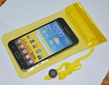 2014 new design transparent waterproof case for samsung galaxy s4 mini with neck strap