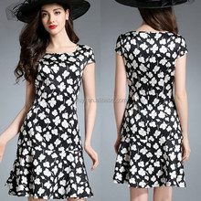 New hot selling products classic black and white color printing for mature women cap sleeves fishtail hem floral women dress
