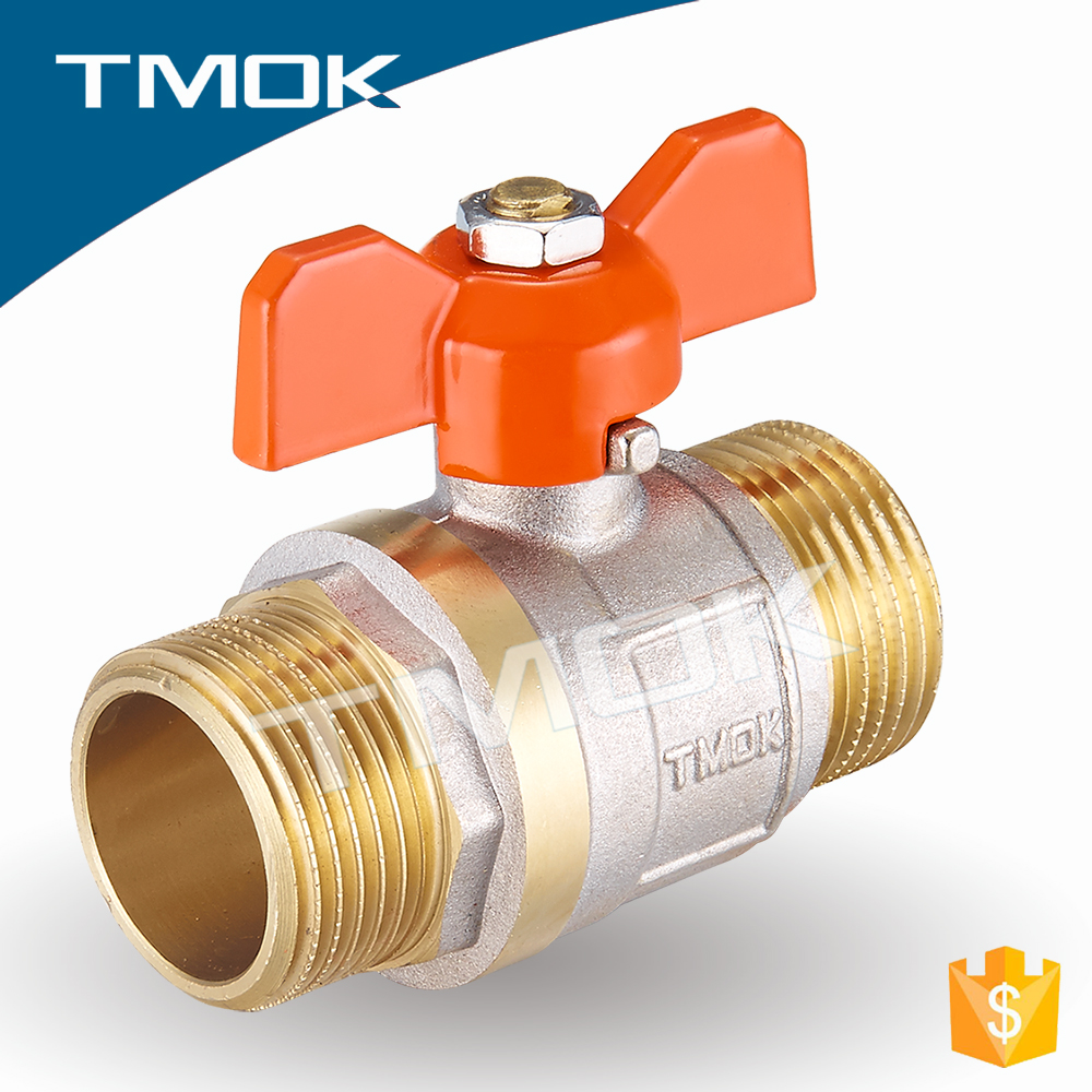 butterfly plastic handle hpb57-3 DN15 sand blasting two pieces with full port copper screw cap brass ball valve 1/2