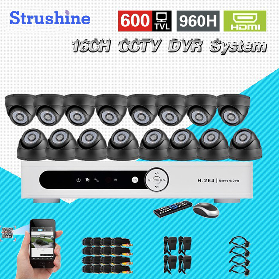 600TVL 16 Ch IR indoor video Surveillance Analog Camera security Kit Home cctv HDMI 1080P dvr System