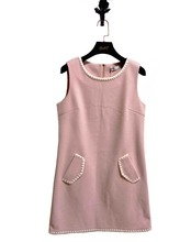 Ladies wool dress with pink embroidered shift cute dress for ladies and latest design lovely dress