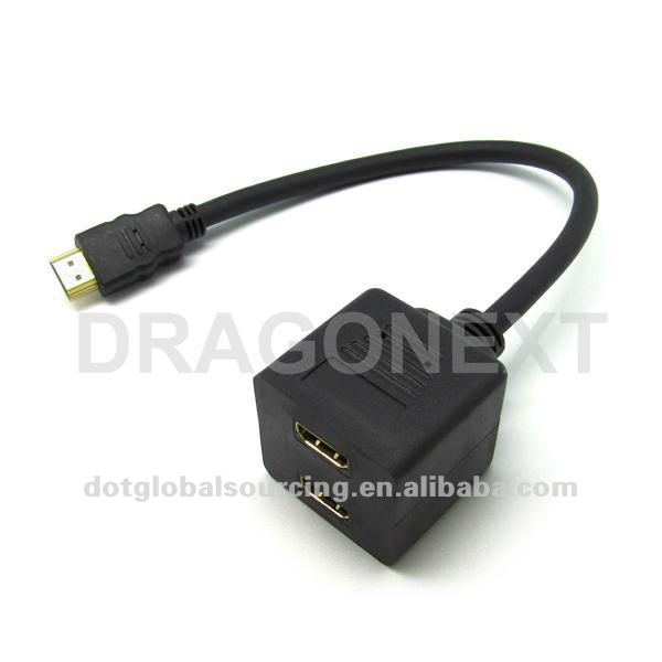 2015 New HDMI Male To 2 HDMI Female Splitter Adapter Cable