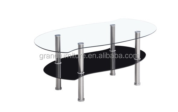 "Modern glass furniture ""S"" shape cheap glass coffee table"