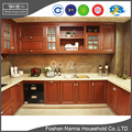 china luxury U shape italian solid wood kitchen cabinet with glass door