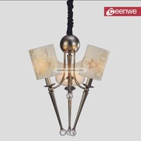 Modern Chrome 3 Lights Metal incandescent luminaire chandeliers
