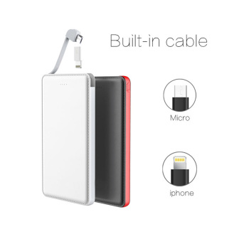 Ultra Slim built in cable External Cell Phone Battery Charger Portable Charger 5000mAh Power Bank
