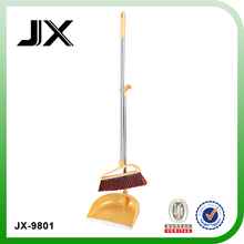 plastic broom with stainless steel pipe and dustpan