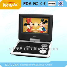 7inch high quanlity cheap portable dvd player with analog tv