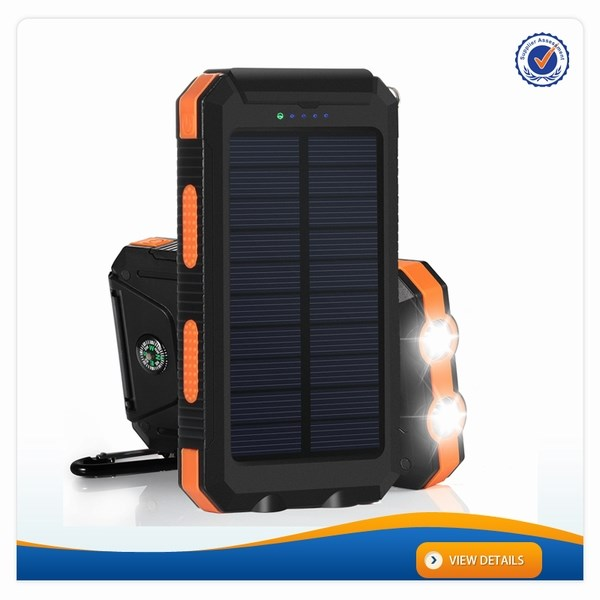 AWC719 5V 2.1A 8000mAh Power Bank with Led Light with Compass Super Waterproof Powerbank Solar Charger