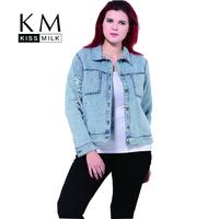 Kissmilk Woman Denim Big Size Jacket Female Vintage Single Button Long Sleeve Outwear Ladies Washed Denim Coat for Wholesale