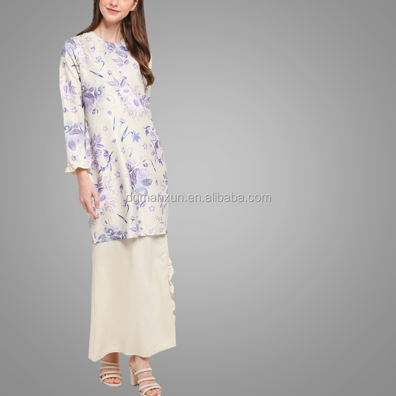 New Style Flare Printing Baju Kurung Modern 2018 Fashion Latest Abaya Designs Long Sleeve Collar Soft Jilbab Abaya
