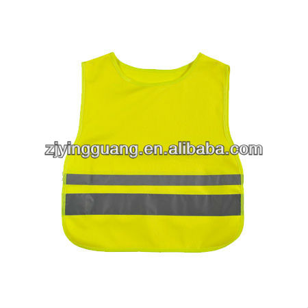 High Visibility safety vest in 100% Polyester Mesh Fabric for Children