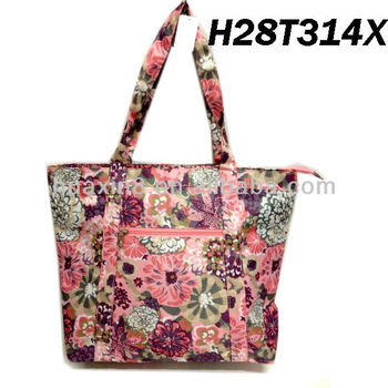 H28T314X Flower Polyester Beach Bag