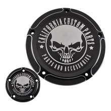 California Custom Skull Derby Timer Clutch Timing Covers Master Cylinder Chain Inspection Cover Fit For HarleyDyna Softail 99-17