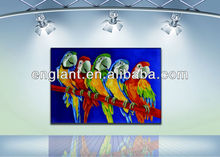 Hot sale abstract animal oil painting new design parrot canvas painting for kids room colorful animal painting