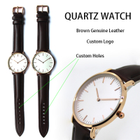 Brown Genuine Leather Strap Gold Japan Movement Quartz Watch