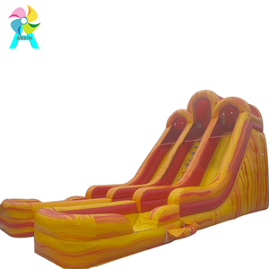 Giant Commercial Three Lanes Inflatable Water Slide With Swimming Pool For clearance
