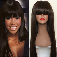 2016 Wholesale 100 Brazilian Virgin Human Hair Silky Straight Wave Full Lace Wigs with Bangs for Black Women