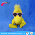 Funny yellow plush duck toys with sunglasses for kids custom duck plush toys