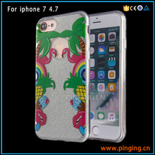 Luxury Popular coloured drawing phone protective cover for iphone 7 , custom design phone case glitter for iphone 7 slim case