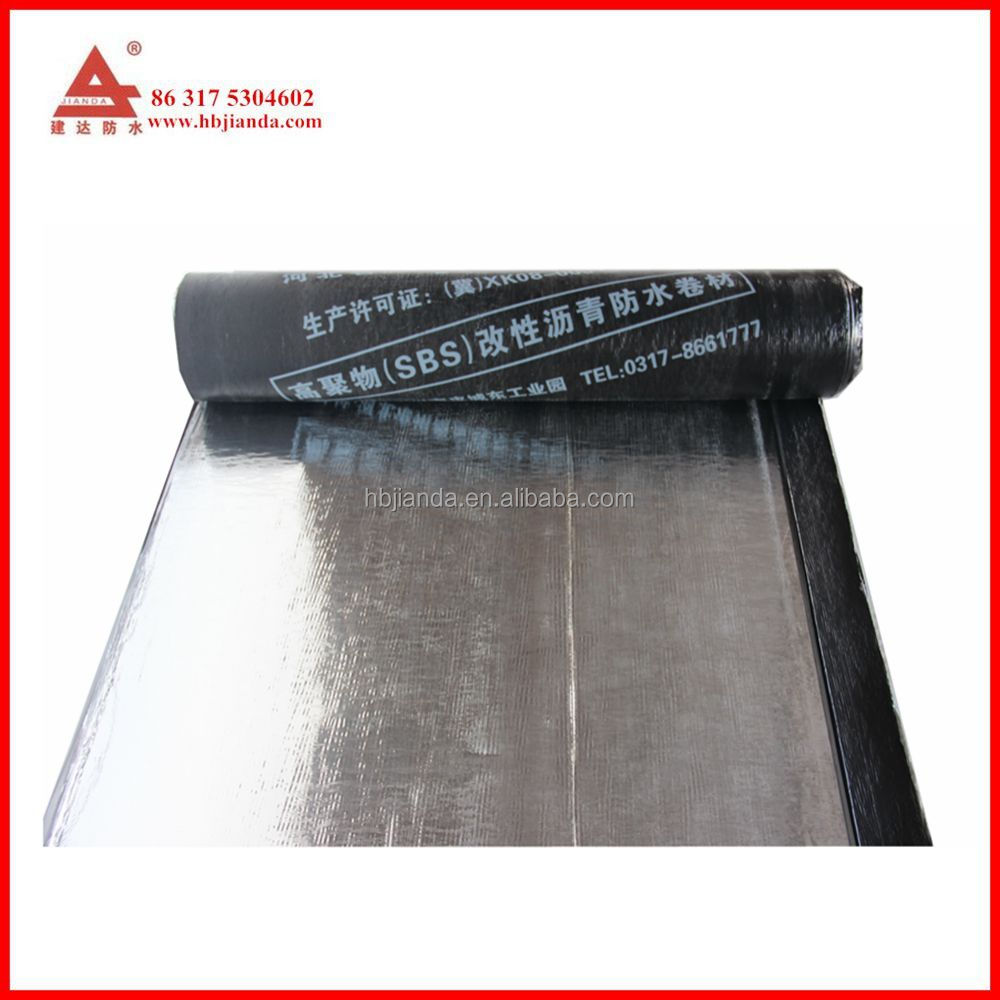 Torch applied SBS modified asphalt roof felt roll with aluminum