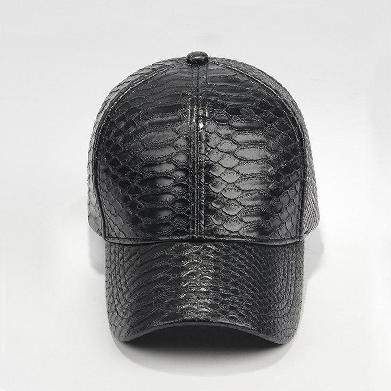 High Quality Snake Leather PU Baseball Cap/Hat Without Logo Custom PU Sports Cap/Golf Cap