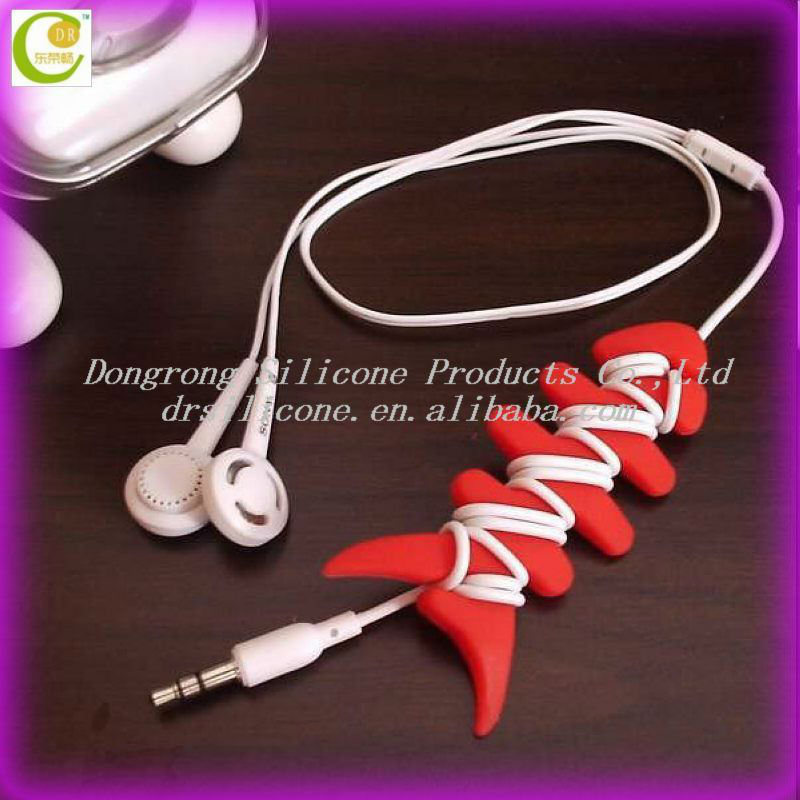 OEM and ODM popular cheap price silicone earphone cord wrap,pvc rubber headphones cable winder