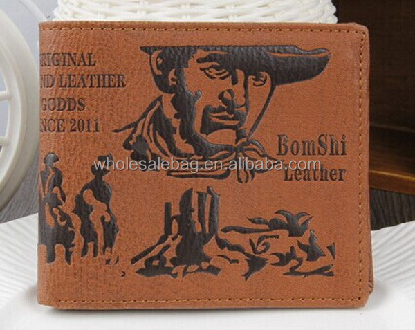 Fashion Customized Logo Embossed Bifold Mens Leather Wallet Purse U.S Dollar Wallet