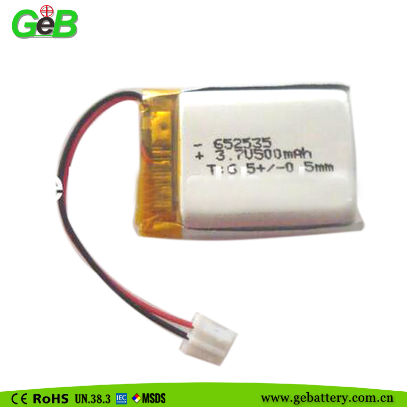 3.7V li-ion polymer battery with 500mAh 652535 high capacity for GPS