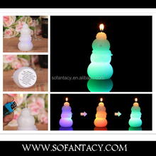 snowwoman shape wax led candle.colour changing led wax candle wedding decoration