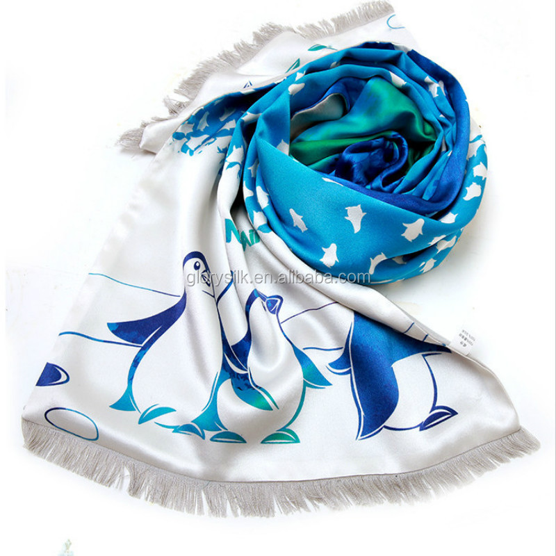 Factory supply oblong natural silk fashion scarf with fringe
