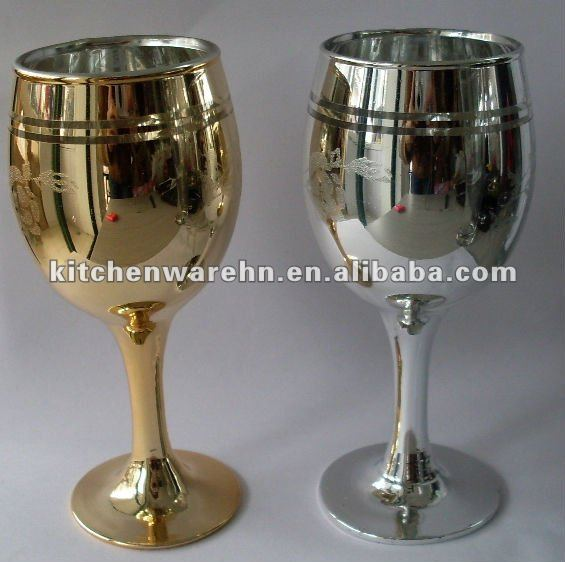 silver and golden wine goblet/electraplating wine glasses
