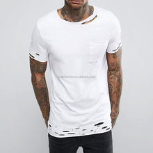 men fashion new tee 100% cotton tall plain blank distressed t shirts with pocket