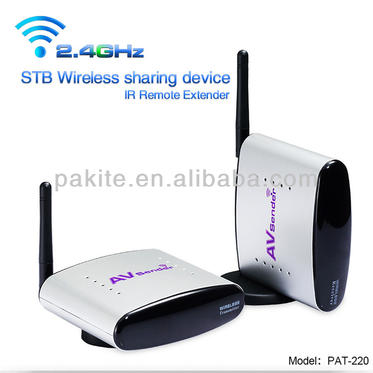 2.4G Wireless AV Sender Transmitter and Receiver with IR Remote Extender, Model:PAT-220
