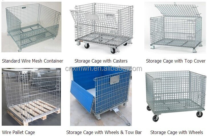 collapsible trolley roll cage containers foldable storage metal pallet cage metal storage box. Black Bedroom Furniture Sets. Home Design Ideas