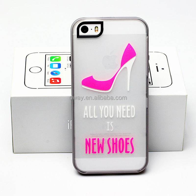 Hot selling new shoes waterproof glow case custom newest design glowing mobile phone case for iphone 5 5s