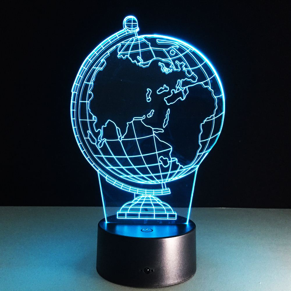 New 3D illusion creative decorative night lamp earth globe diy atmosphere led bulbs usb holiday night light with 7 colors change