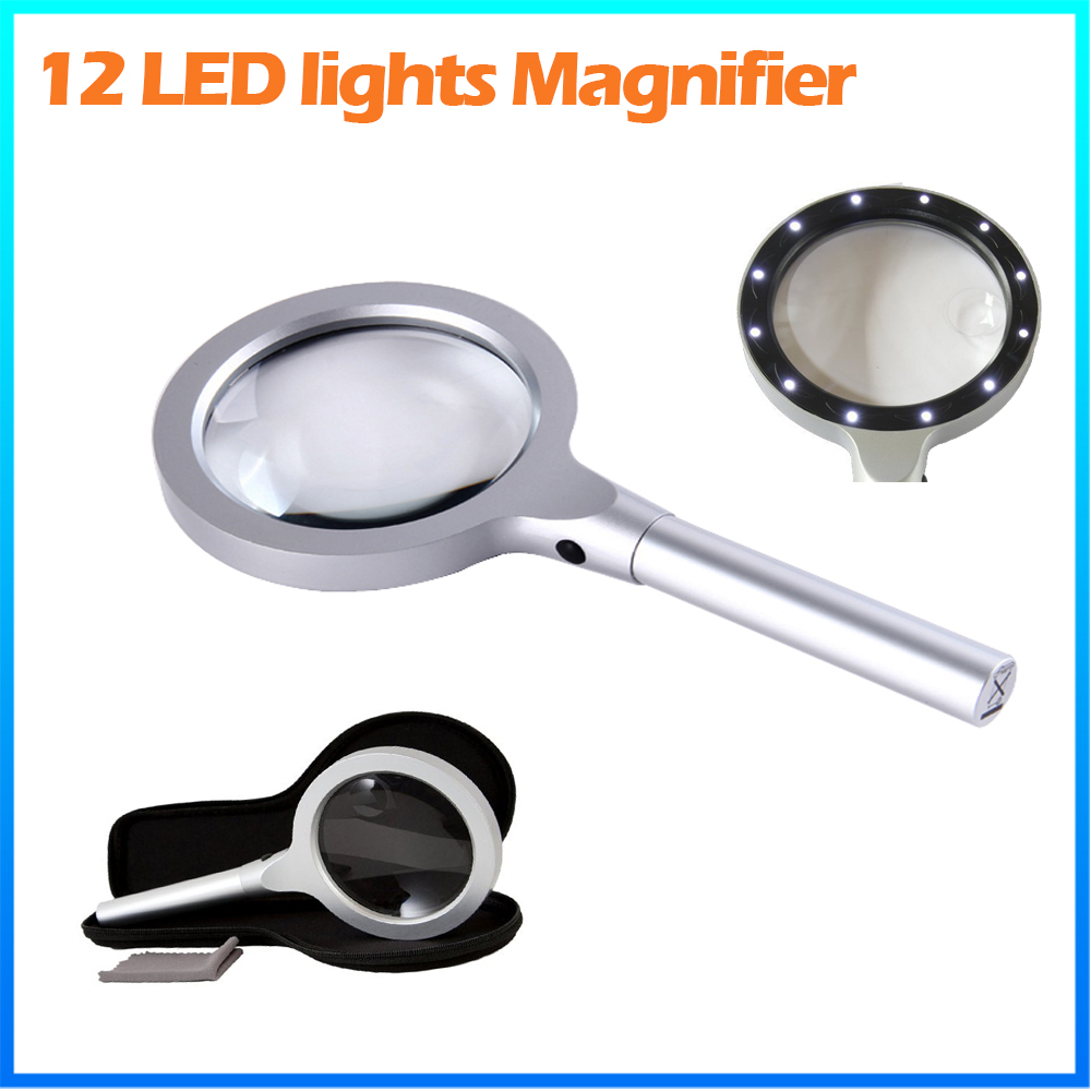 DH-81001 8X Magnification Led Light Power Lamp Magnifier,Working 10X Metal Handled Reading Loupe