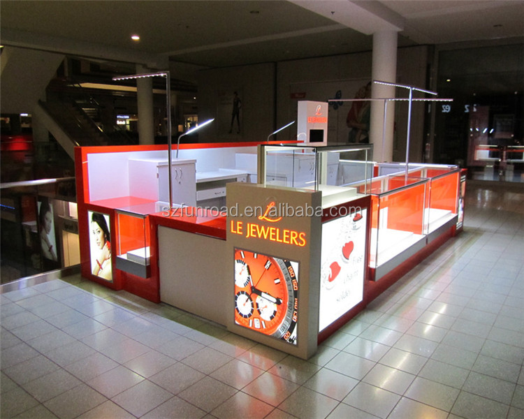 Wood And Glass Jewelry mall kiosk design ideas made in China