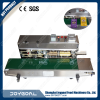 New design plastic film continuous heat sealer with date coding/ pp bag sealing machine