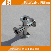ss304 tri-clamp elbow clamped cross pipe fitting