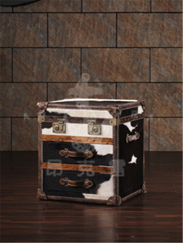Retro storage boxes with full leather covered L808