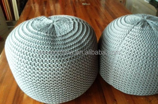 50DB69 100%acrylic filled round ladder knit cushion for decoration in bedroom