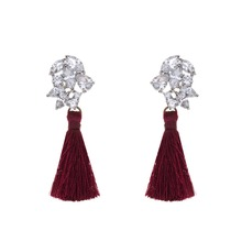 latest design handmade colorful zircon long silk thread tassel fringing drop earrings for women jewellery
